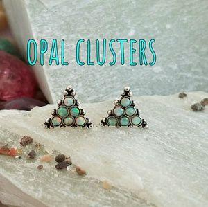 Dainty Opal Clusters Earrings Sterling Silver